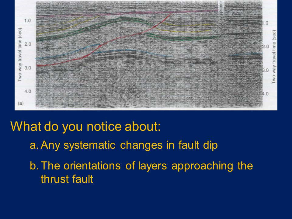 What do you notice about: a.Any systematic changes in fault dip b.The orientations of layers approaching the thrust fault
