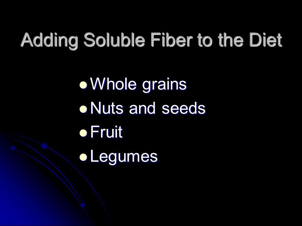 Adding Soluble Fiber to the Diet Whole grains Whole grains Nuts and seeds Nuts and seeds Fruit Fruit Legumes Legumes