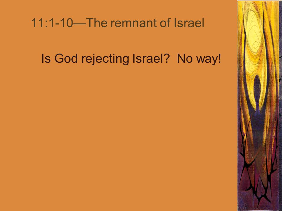 11:1-10—The remnant of Israel Is God rejecting Israel No way!