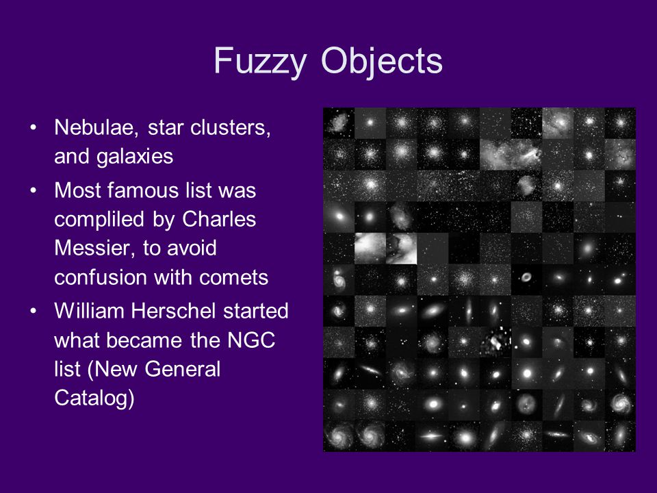 Fuzzy Objects Nebulae, star clusters, and galaxies Most famous list was compliled by Charles Messier, to avoid confusion with comets William Herschel started what became the NGC list (New General Catalog)