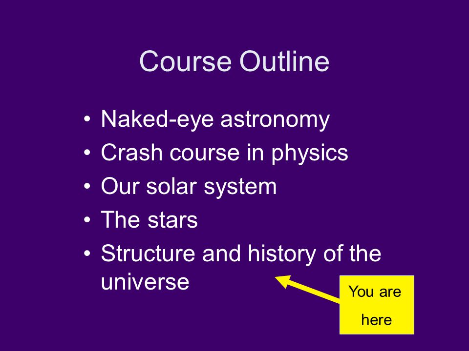 Course Outline Naked-eye astronomy Crash course in physics Our solar system The stars Structure and history of the universe You are here