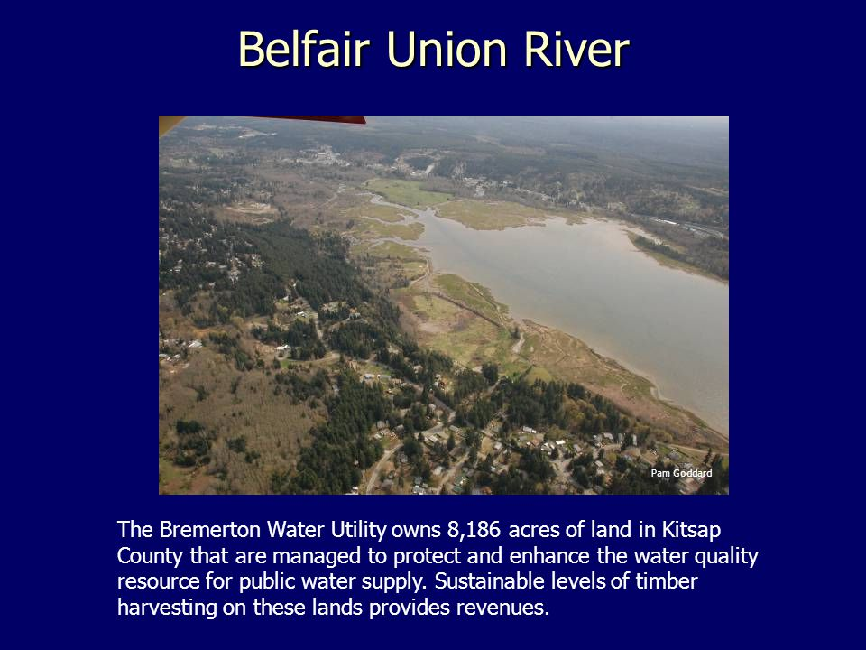 Belfair Union River Pam Goddard The Bremerton Water Utility owns 8,186 acres of land in Kitsap County that are managed to protect and enhance the water quality resource for public water supply.