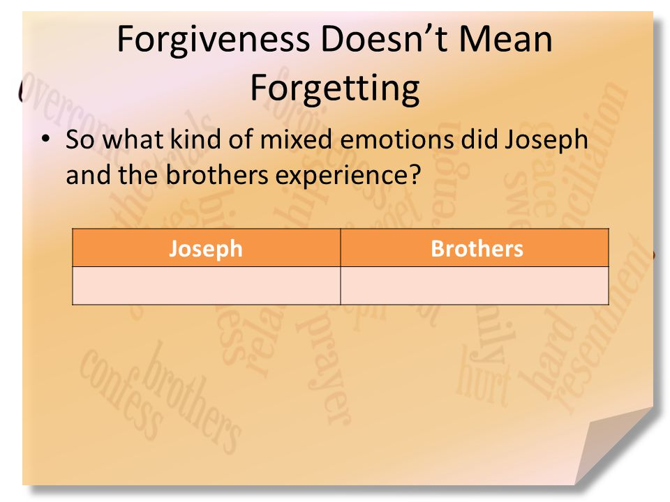 Forgiveness Doesn't Mean Forgetting So what kind of mixed emotions did Joseph and the brothers experience? Joseph Brothers