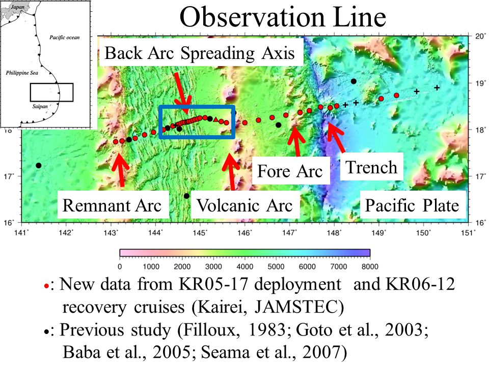 Observation Line ● : New data from KR05-17 deployment and KR06-12 recovery cruises (Kairei, JAMSTEC) ● : Previous study (Filloux, 1983; Goto et al., 2
