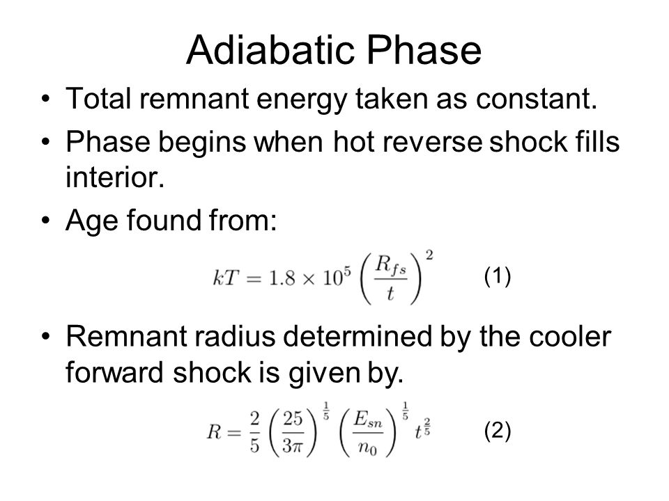 Adiabatic Phase Total remnant energy taken as constant.