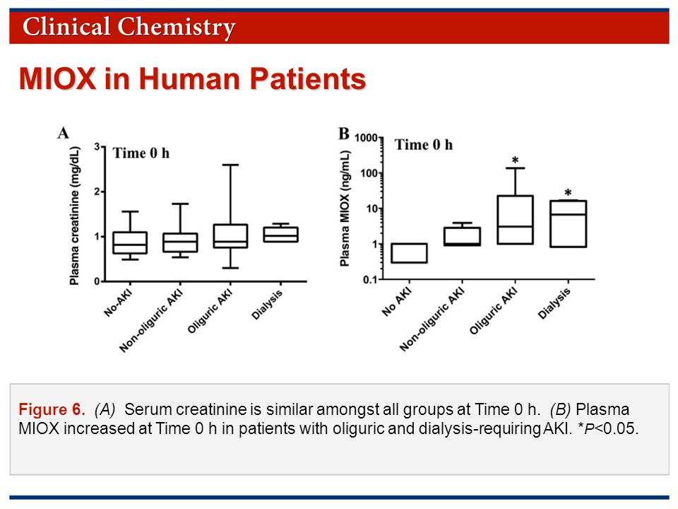 © Copyright 2009 by the American Association for Clinical Chemistry Figure 6. (A) Serum creatinine is similar amongst all groups at Time 0 h. (B) Plas