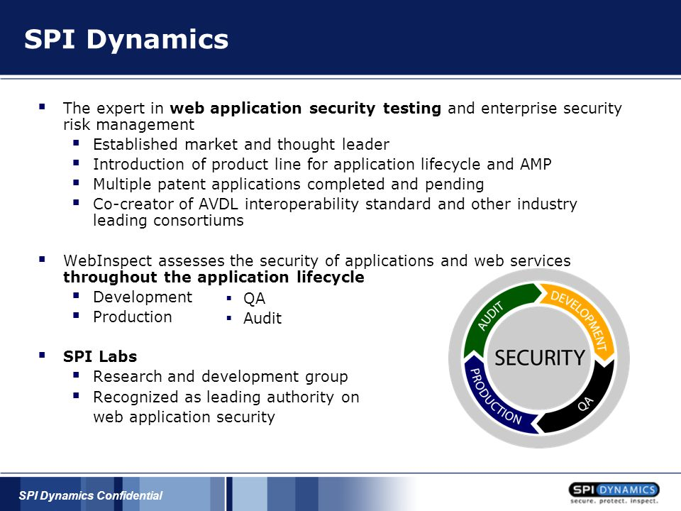 SPI Dynamics Confidential Administration Extension Checking Common File Checks Data Extension Checking Backup Checking Directory Enumeration Path Truncation Hidden Web Paths Forceful Browsing Administration: Less easily corrected than known issues Require increased awareness More than just configuration, must be aware of security flaws in actual content Remnant files can reveal applications and versions in use Backup files can reveal source code and database connection strings Web Application Vulnerabilities