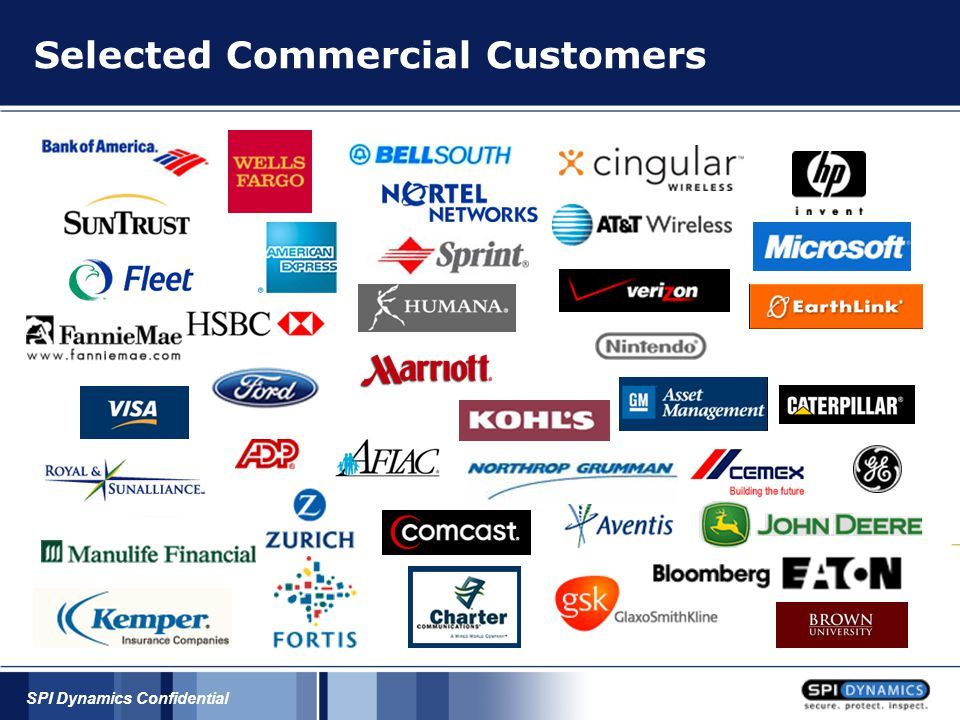 SPI Dynamics Confidential Selected Commercial Customers