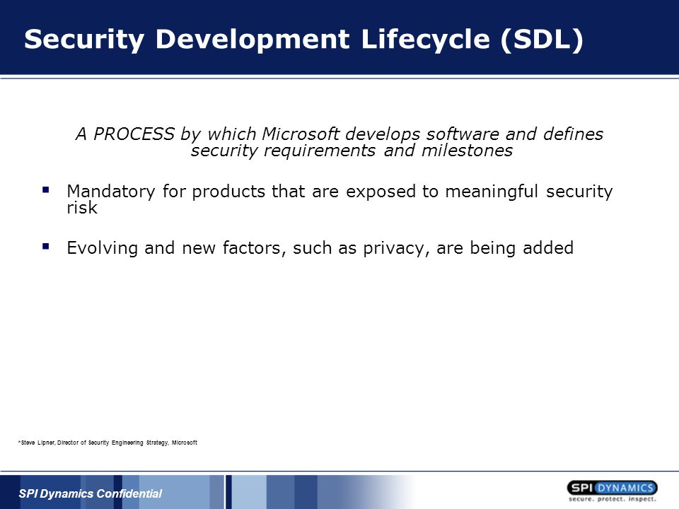 SPI Dynamics Confidential Security Development Lifecycle (SDL) A PROCESS by which Microsoft develops software and defines security requirements and milestones  Mandatory for products that are exposed to meaningful security risk  Evolving and new factors, such as privacy, are being added *Steve Lipner, Director of Security Engineering Strategy, Microsoft