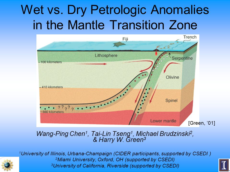 Wet vs. Dry Petrologic Anomalies in the Mantle Transition Zone Wang-Ping Chen 1, Tai-Lin Tseng 1, Michael Brudzinski 2, & Harry W. Green 3 1 Universit