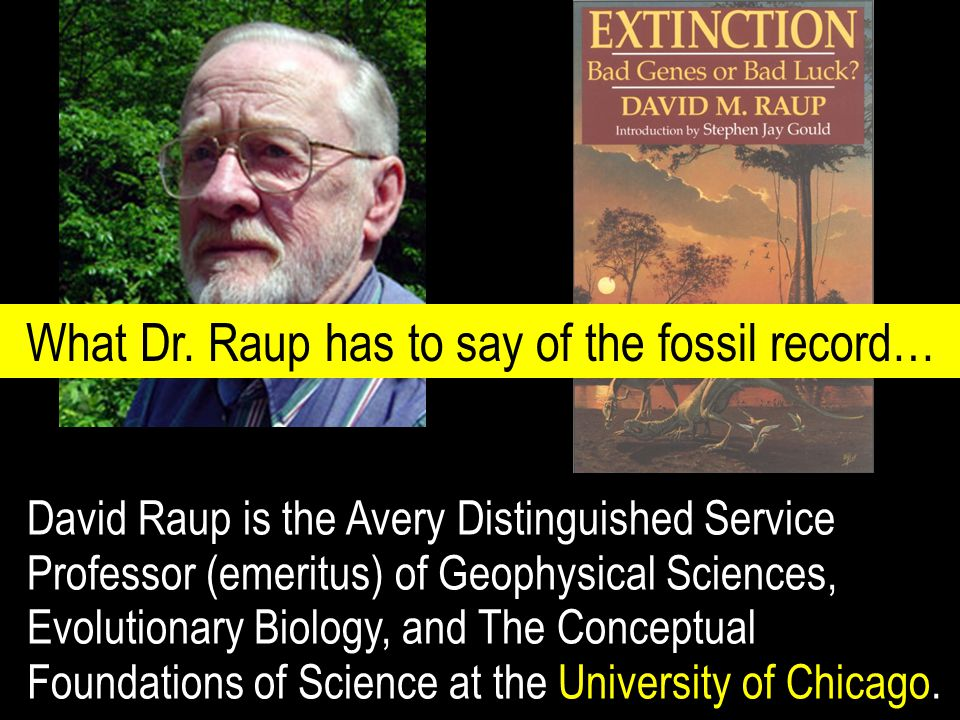 David Raup is the Avery Distinguished Service Professor (emeritus) of Geophysical Sciences, Evolutionary Biology, and The Conceptual Foundations of Science at the University of Chicago.
