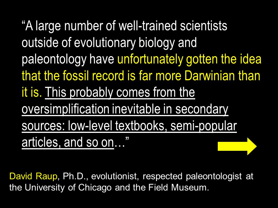 A large number of well-trained scientists outside of evolutionary biology and paleontology have unfortunately gotten the idea that the fossil record is far more Darwinian than it is.