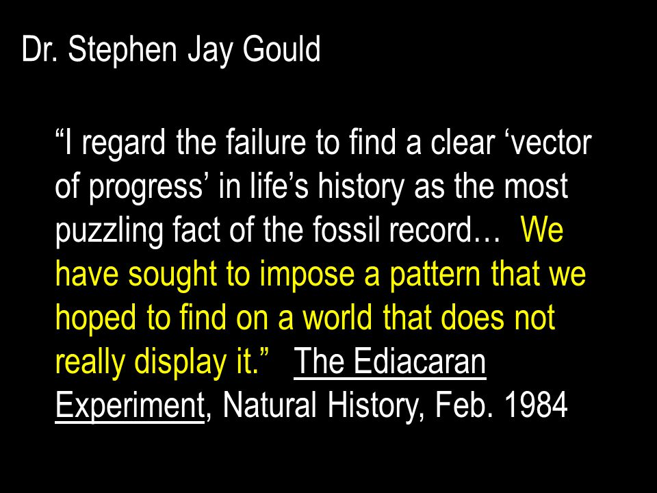 I regard the failure to find a clear 'vector of progress' in life's history as the most puzzling fact of the fossil record… We have sought to impose a pattern that we hoped to find on a world that does not really display it. The Ediacaran Experiment, Natural History, Feb.