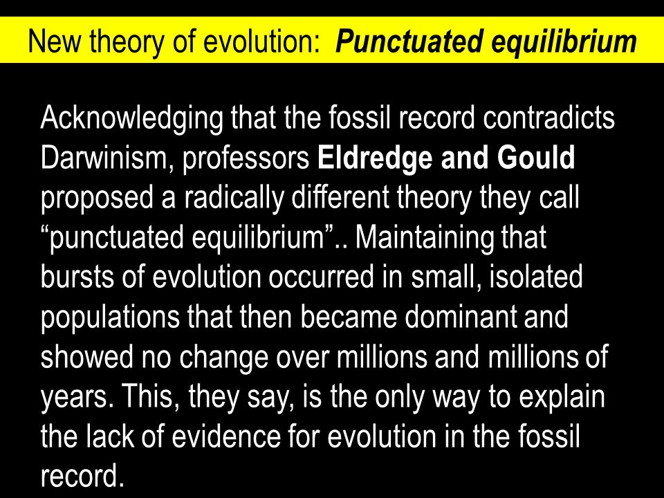 Acknowledging that the fossil record contradicts Darwinism, professors Eldredge and Gould proposed a radically different theory they call punctuated equilibrium ..