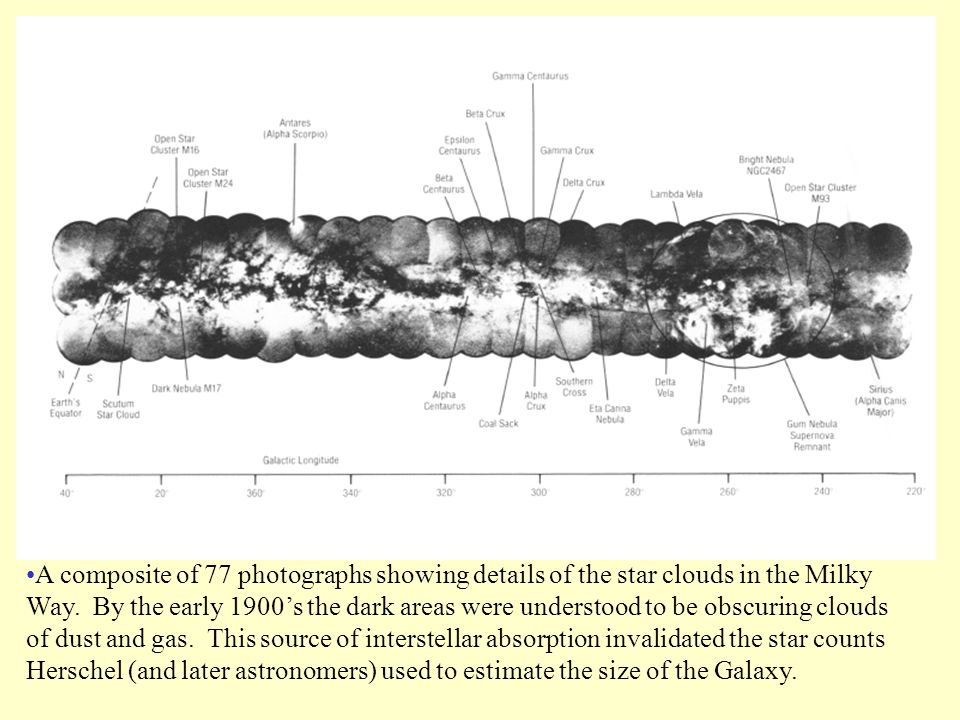 A composite of 77 photographs showing details of the star clouds in the Milky Way.