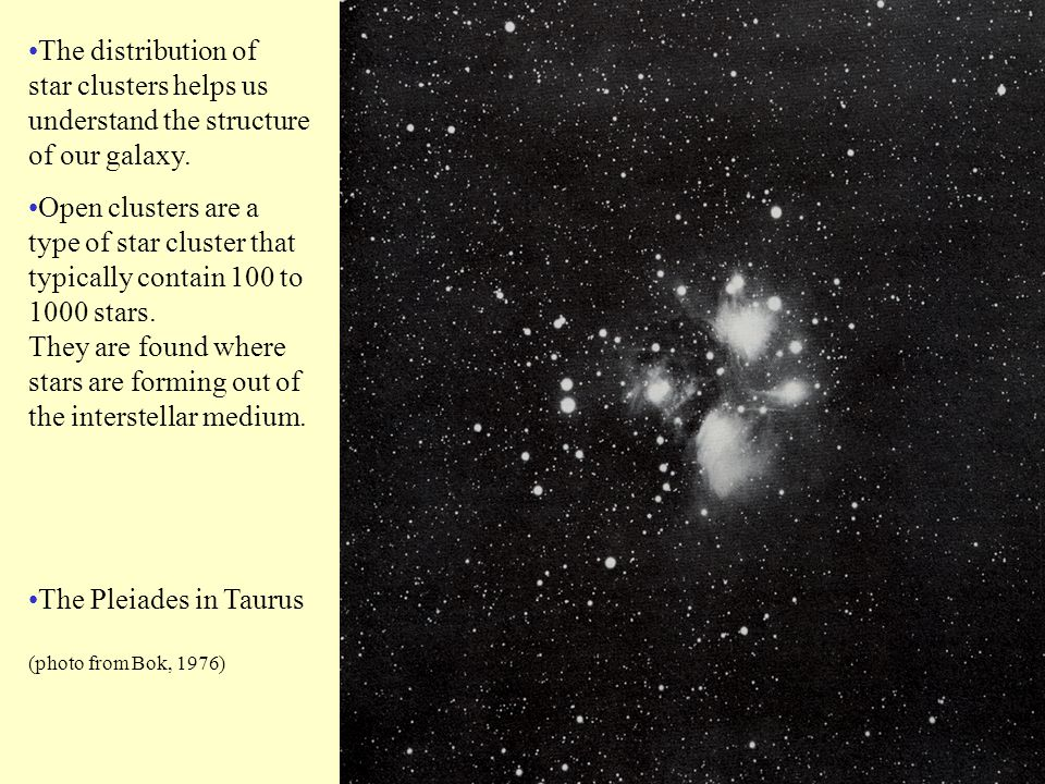 Open clusters are a type of star cluster that typically contain 100 to 1000 stars.