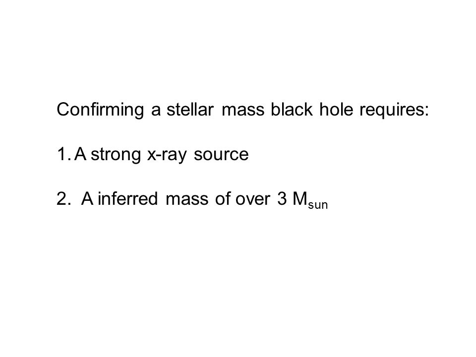 Confirming a stellar mass black hole requires: 1.A strong x-ray source 2. A inferred mass of over 3 M sun