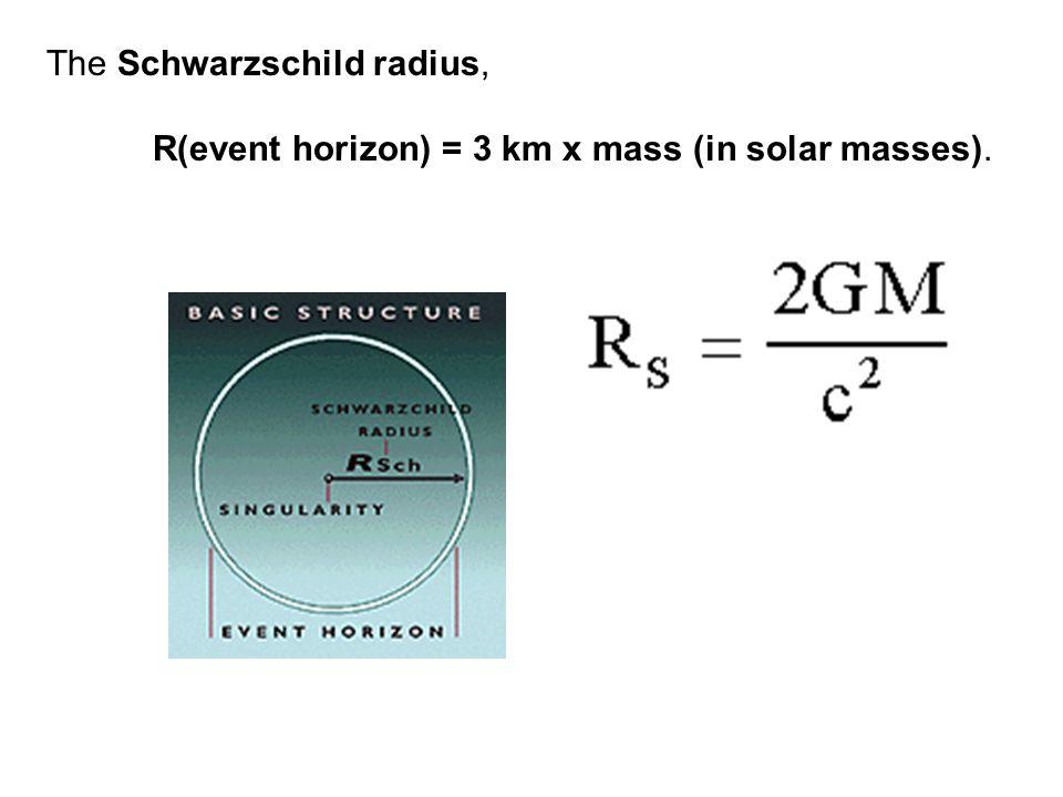The Schwarzschild radius, R(event horizon) = 3 km x mass (in solar masses).
