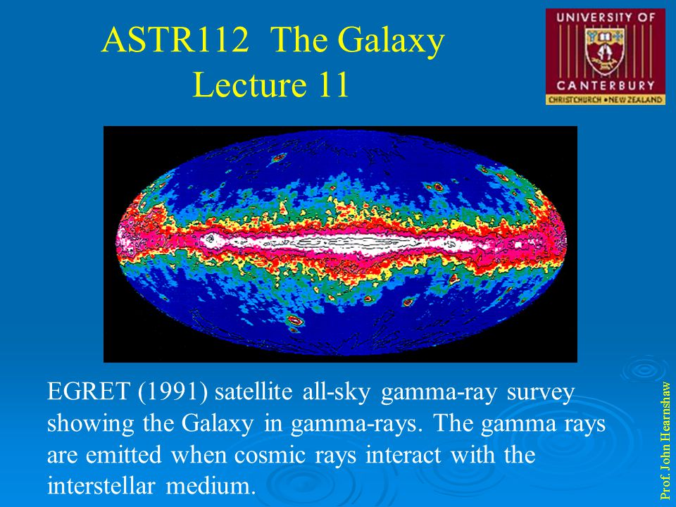 ASTR112 The Galaxy Lecture 11 Prof. John Hearnshaw EGRET (1991) satellite all-sky gamma-ray survey showing the Galaxy in gamma-rays. The gamma rays ar