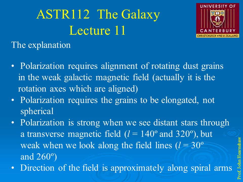 ASTR112 The Galaxy Lecture 11 Prof. John Hearnshaw The explanation Polarization requires alignment of rotating dust grains in the weak galactic magnet