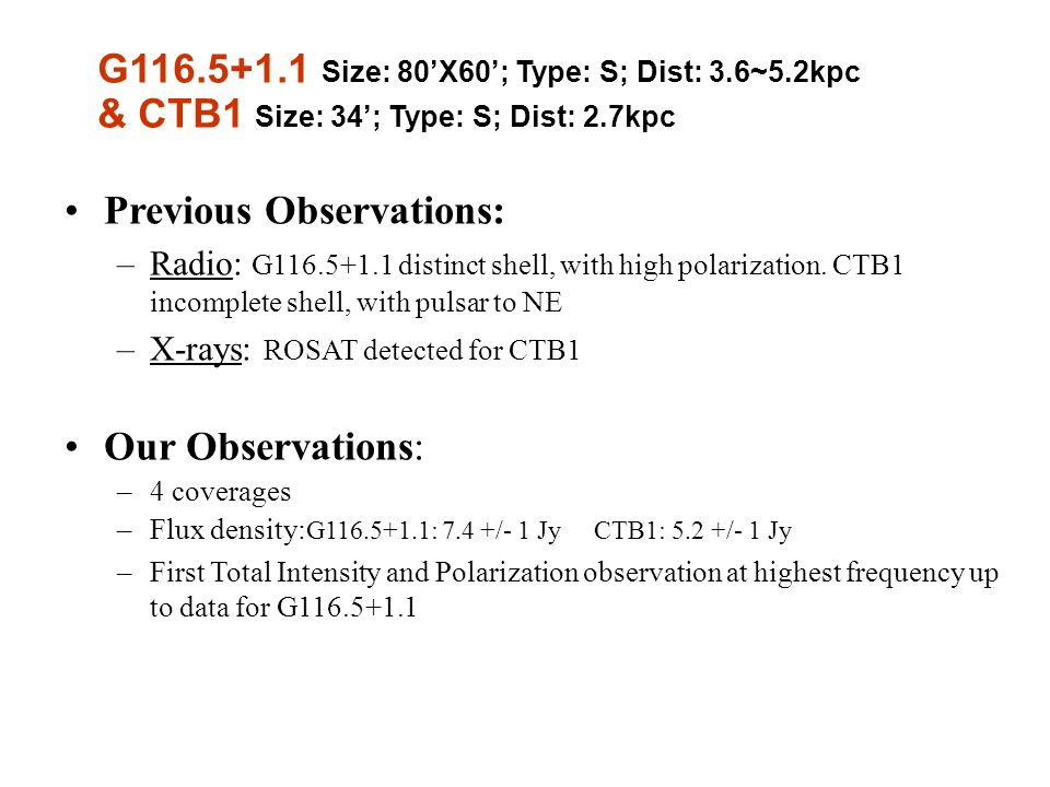 Previous Observations: –Radio: G116.5+1.1 distinct shell, with high polarization.