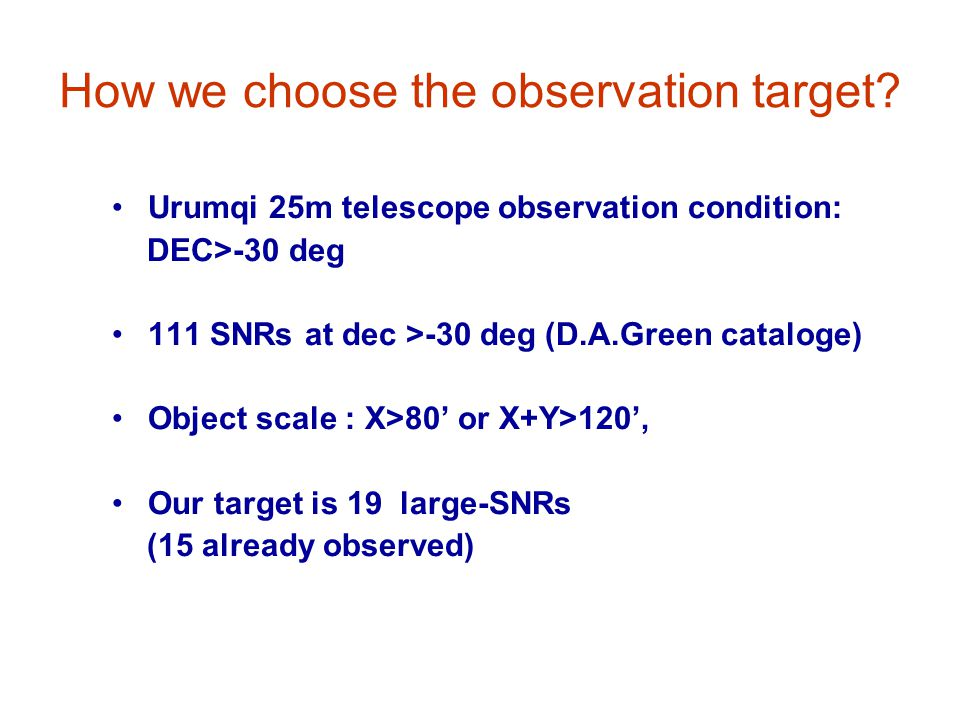 How we choose the observation target? Urumqi 25m telescope observation condition: DEC>-30 deg 111 SNRs at dec >-30 deg (D.A.Green cataloge) Object sca