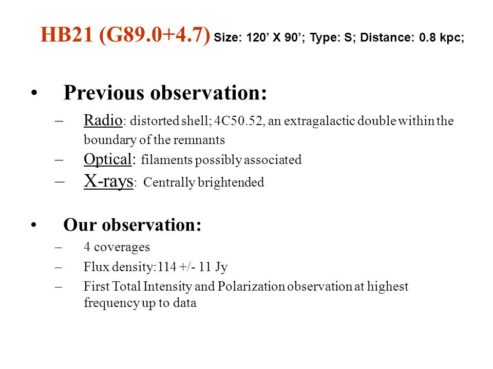 Previous observation: –Radio : distorted shell; 4C50.52, an extragalactic double within the boundary of the remnants –Optical: filaments possibly associated –X-rays : Centrally brightended Our observation: –4 coverages –Flux density:114 +/- 11 Jy –First Total Intensity and Polarization observation at highest frequency up to data HB21 (G89.0+4.7) Size: 120' X 90'; Type: S; Distance: 0.8 kpc;