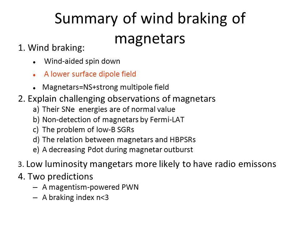 Summary of wind braking of magnetars 1.