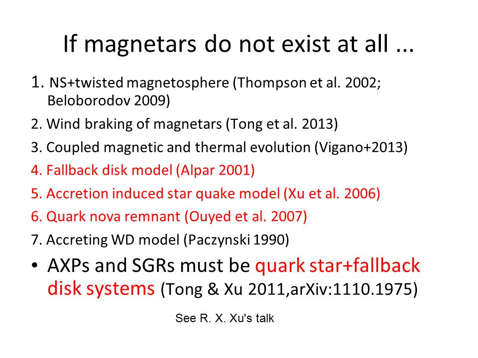 If magnetars do not exist at all... 1. NS+twisted magnetosphere (Thompson et al.