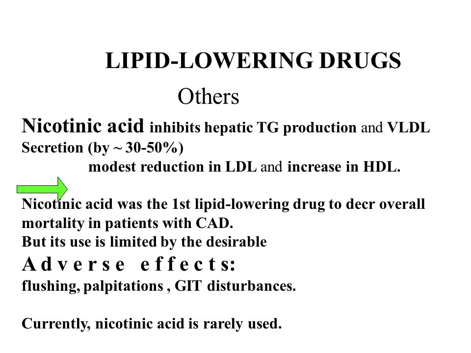 LIPID-LOWERING DRUGS Others Nicotinic acid inhibits hepatic TG production and VLDL Secretion (by ~ 30-50%) modest reduction in LDL and increase in HDL