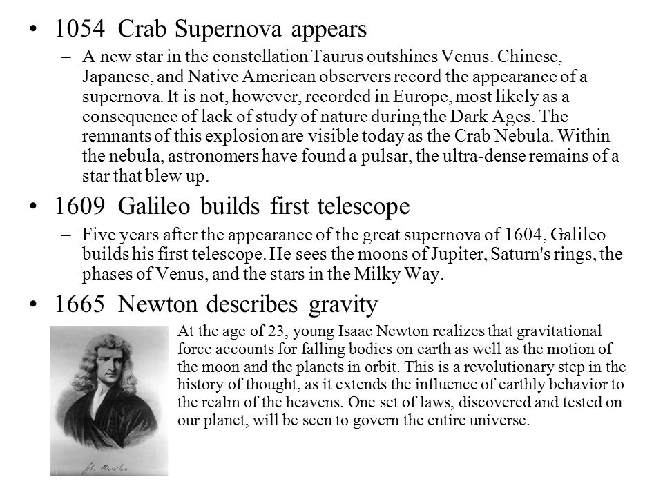 1054 Crab Supernova appears –A new star in the constellation Taurus outshines Venus. Chinese, Japanese, and Native American observers record the appea