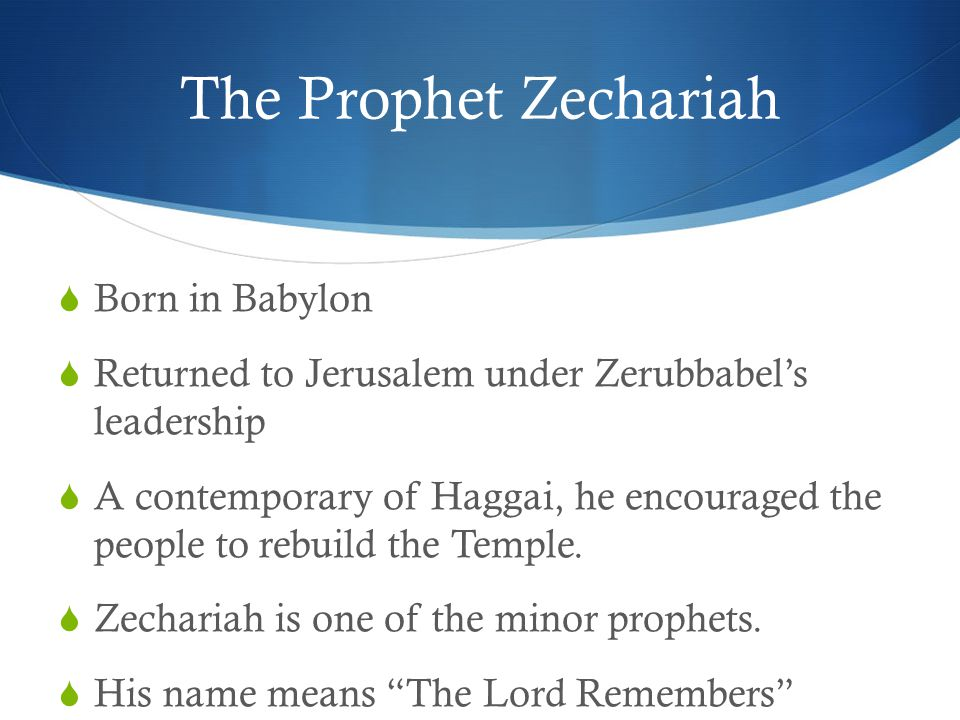 The Book of Zechariah  Two major sections to the book: Chapters 1 – 8 = Series of eight visions and a two chapter summary of Old Testament prophecy.