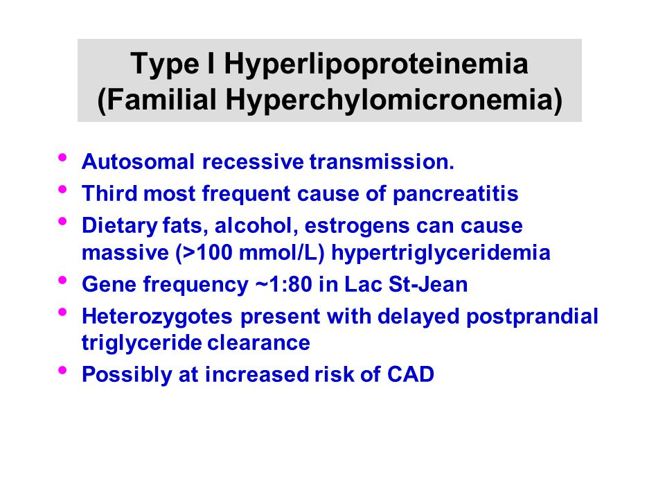Type I Hyperlipoproteinemia (Familial Hyperchylomicronemia) Autosomal recessive transmission. Third most frequent cause of pancreatitis Dietary fats,