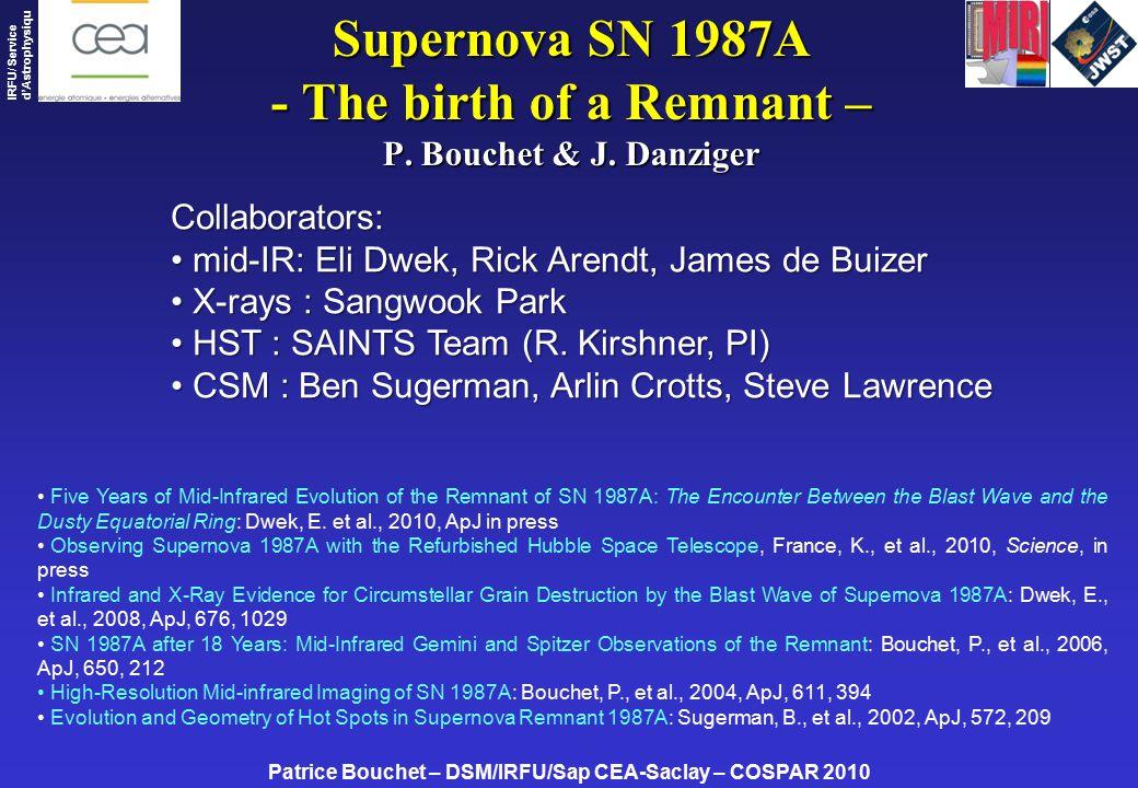 Patrice Bouchet – DSM/IRFU/Sap CEA-Saclay – COSPAR 2010 IRFU/ Service d'Astrophysiqu e Supernova SN 1987A - The birth of a Remnant – P.