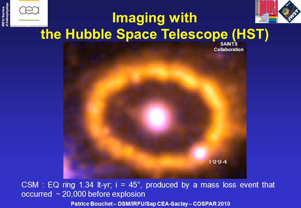 Patrice Bouchet – DSM/IRFU/Sap CEA-Saclay – COSPAR 2010 IRFU/ Service d'Astrophysiqu e Imaging with the Hubble Space Telescope (HST) CSM : EQ ring 1.34 lt-yr; i = 45°, produced by a mass loss event that occurred ~ 20,000 before explosion SAINTS Collaboration
