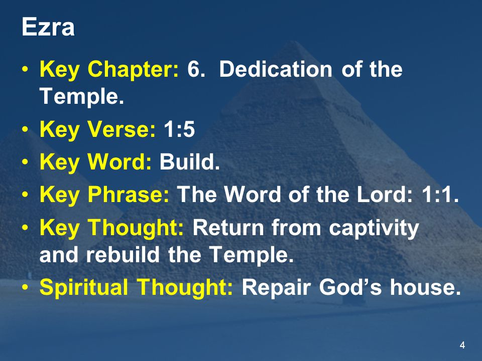4 Ezra Key Chapter: 6. Dedication of the Temple. Key Verse: 1:5 Key Word: Build.