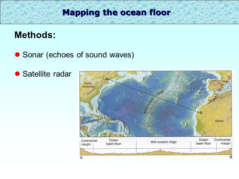 Mapping the ocean floor Methods: l Sonar (echoes of sound waves) l Satellite radar