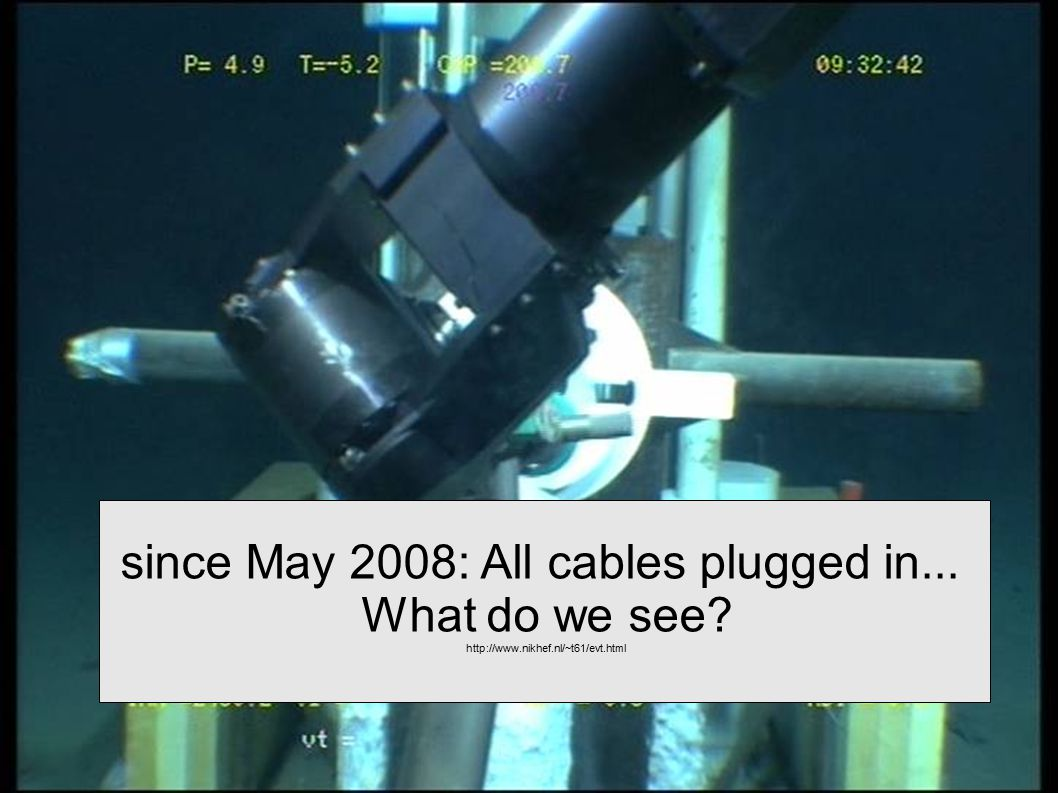 since May 2008: All cables plugged in... What do we see? http://www.nikhef.nl/~t61/evt.html