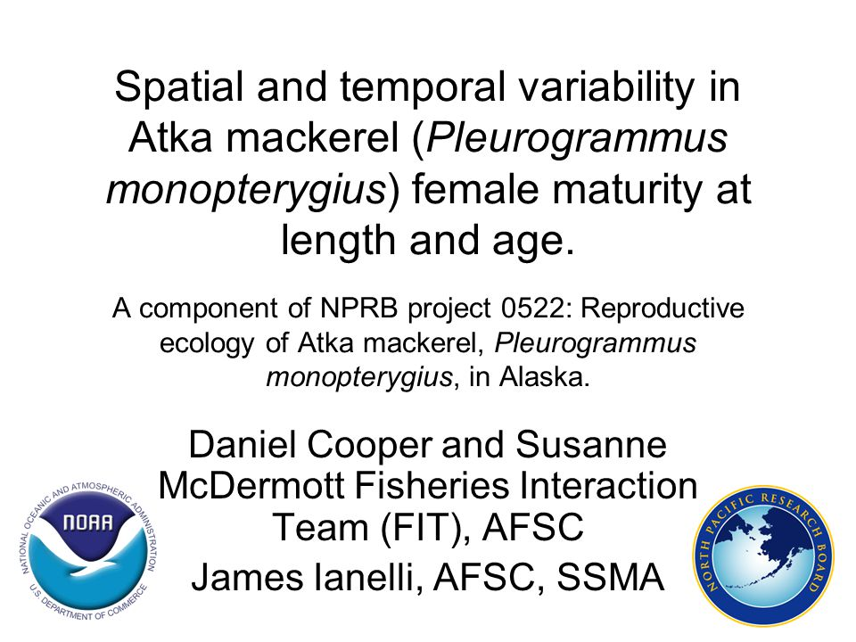 Spatial and temporal variability in Atka mackerel (Pleurogrammus monopterygius) female maturity at length and age. A component of NPRB project 0522: R