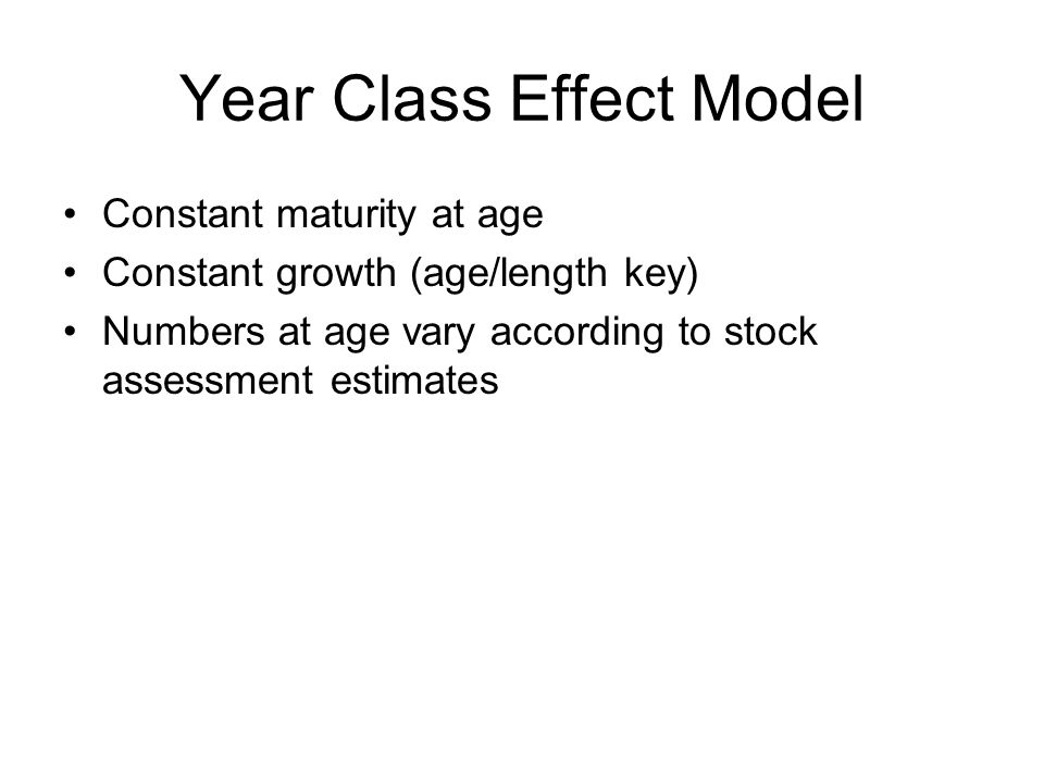 Year Class Effect Model Constant maturity at age Constant growth (age/length key) Numbers at age vary according to stock assessment estimates