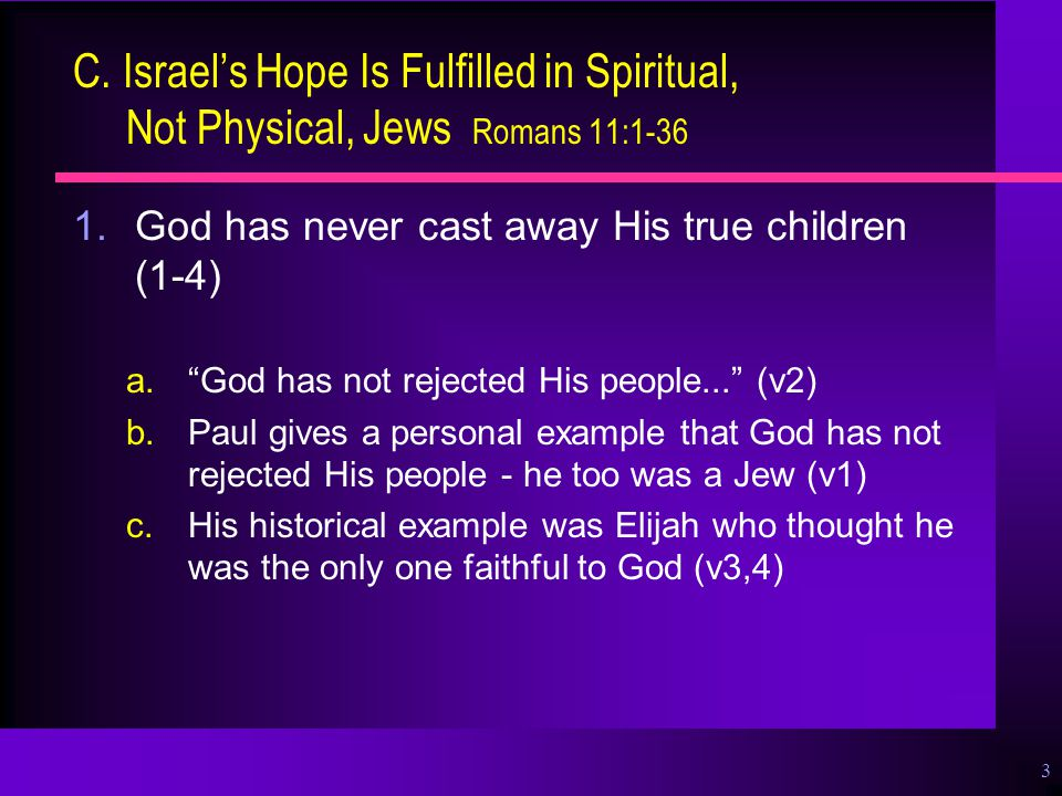 """3 C. Israel's Hope Is Fulfilled in Spiritual, Not Physical, Jews Romans 11:1-36 1.God has never cast away His true children (1-4) a.""""God has not rejec"""