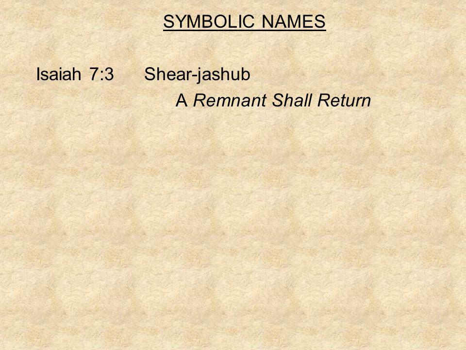 SYMBOLIC NAMES Isaiah 7:3 Shear-jashub A Remnant Shall Return