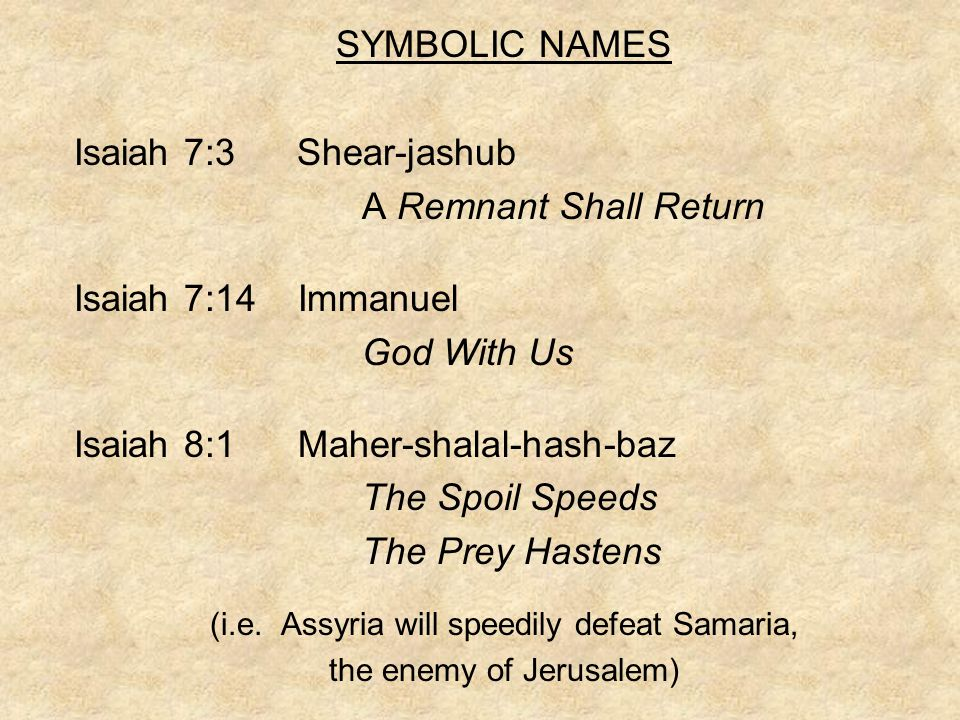 SYMBOLIC NAMES Isaiah 7:3 Shear-jashub A Remnant Shall Return Isaiah 7:14 Immanuel God With Us Isaiah 8:1 Maher-shalal-hash-baz The Spoil Speeds The Prey Hastens (i.e.