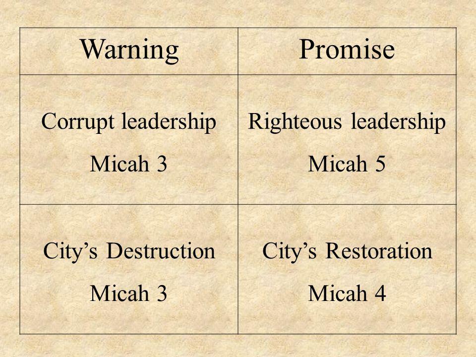 WarningPromise Corrupt leadership Micah 3 Righteous leadership Micah 5 City's Destruction Micah 3 City's Restoration Micah 4