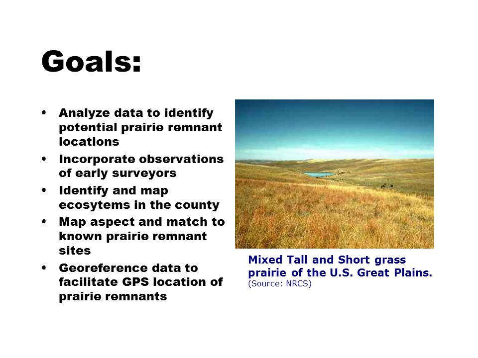Goals: Analyze data to identify potential prairie remnant locations Incorporate observations of early surveyors Identify and map ecosytems in the county Map aspect and match to known prairie remnant sites Georeference data to facilitate GPS location of prairie remnants Mixed Tall and Short grass prairie of the U.S.