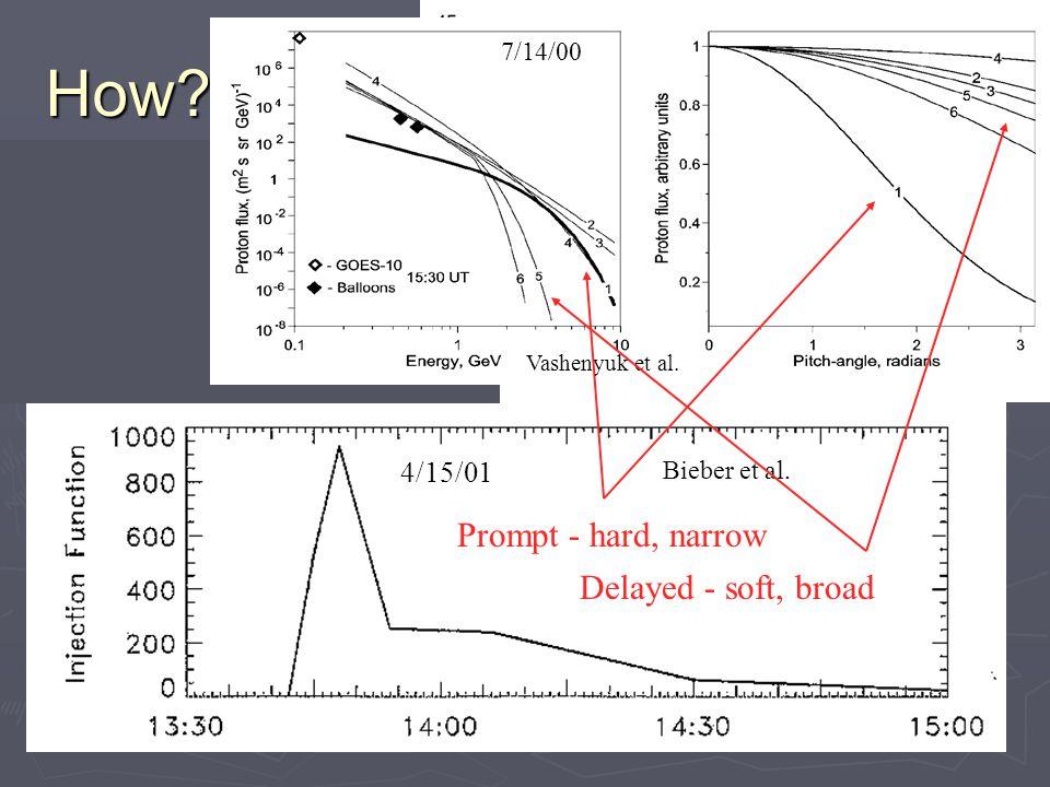 Extended Injection  NM (Bieber et al., Duldig et al.) Duldig et al.)  >100 MeV H + (Struminsky et al.)  Transport or acceleration.