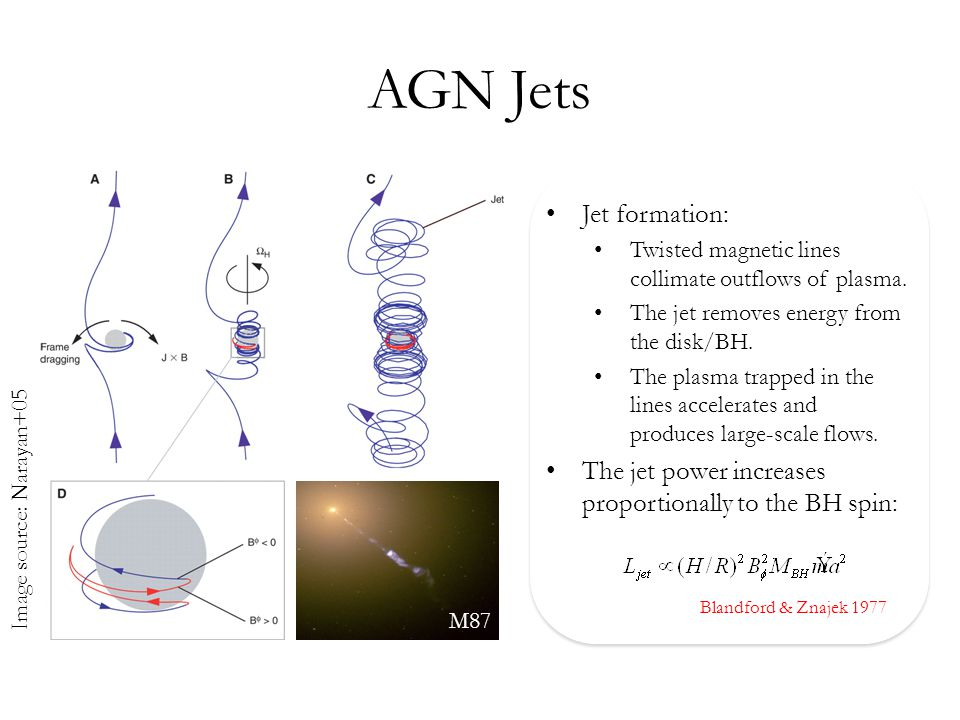 AGN Jets Image source: Narayan+05 M87 Jet formation: Twisted magnetic lines collimate outflows of plasma.