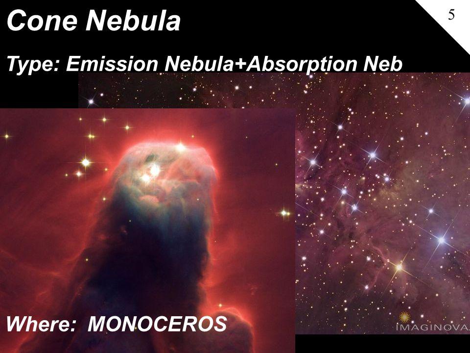Cone Nebula 5 Type: Emission Nebula+Absorption Neb Where: MONOCEROS