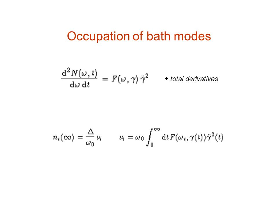 Occupation of bath modes + total derivatives