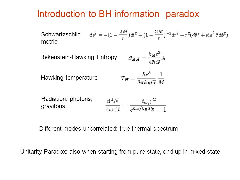 Introduction to BH information paradox Schwartzschild metric Bekenstein-Hawking Entropy Hawking temperature Radiation: photons, gravitons Different mo